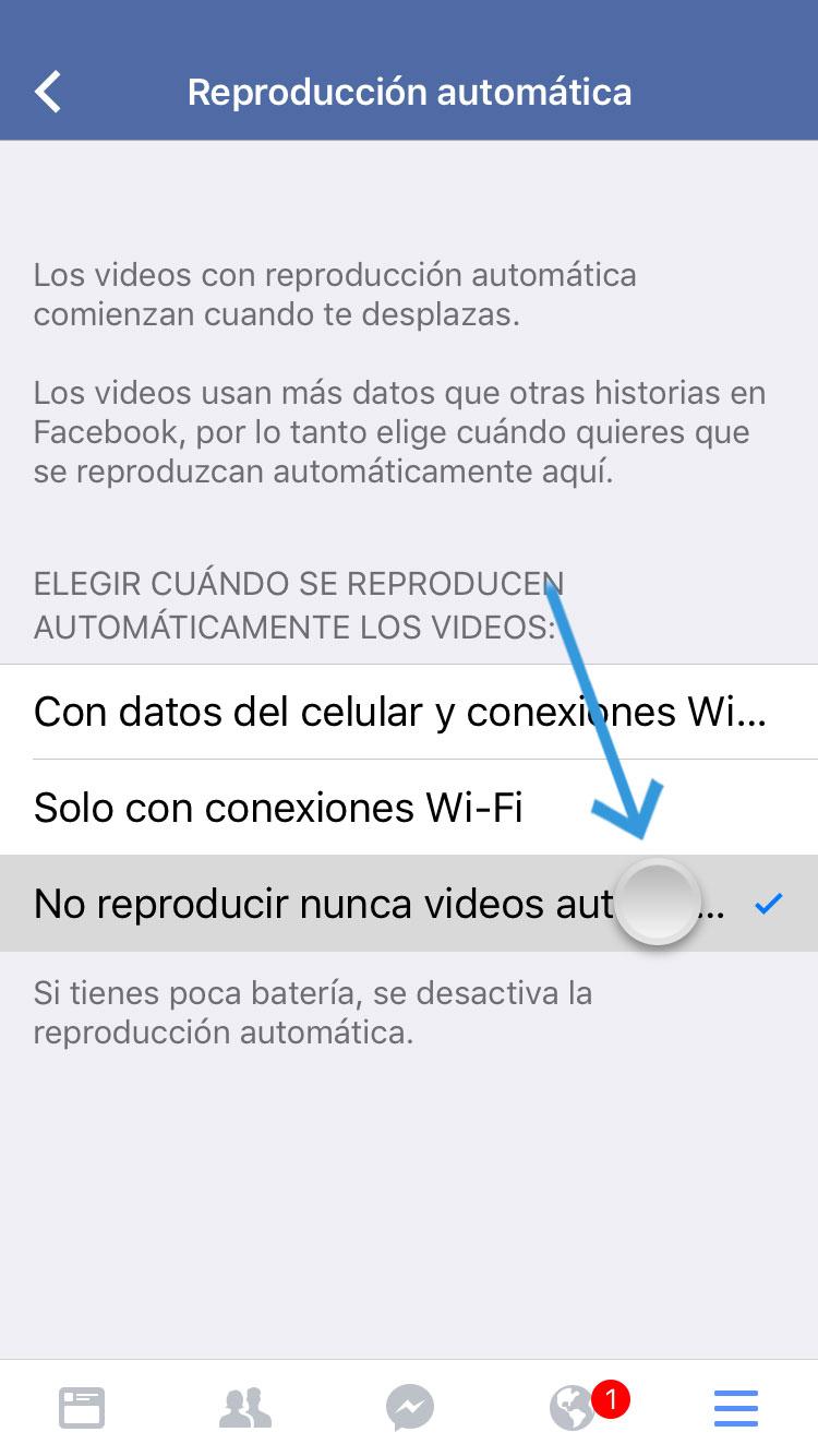 Facebook deshabitar reproducción automática de videos