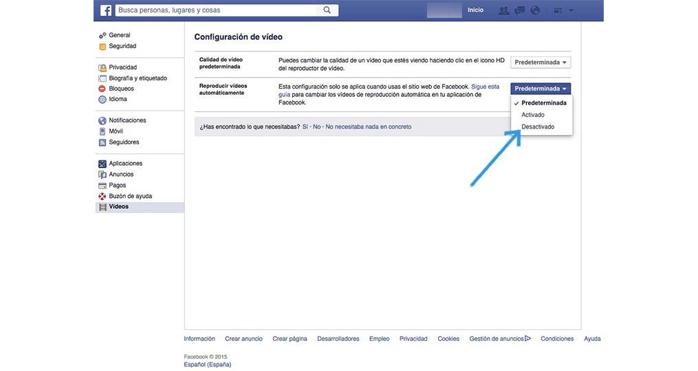 Facebook opciones de video